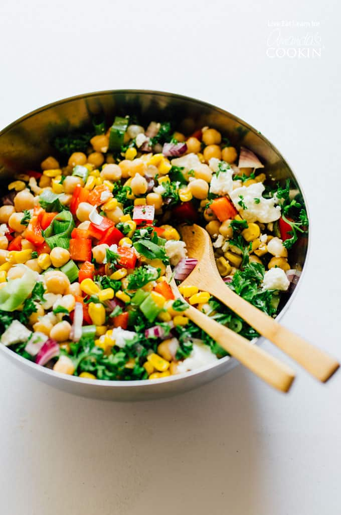 This sweetcorn and chickpea salad with make your family want to eat their veggies!