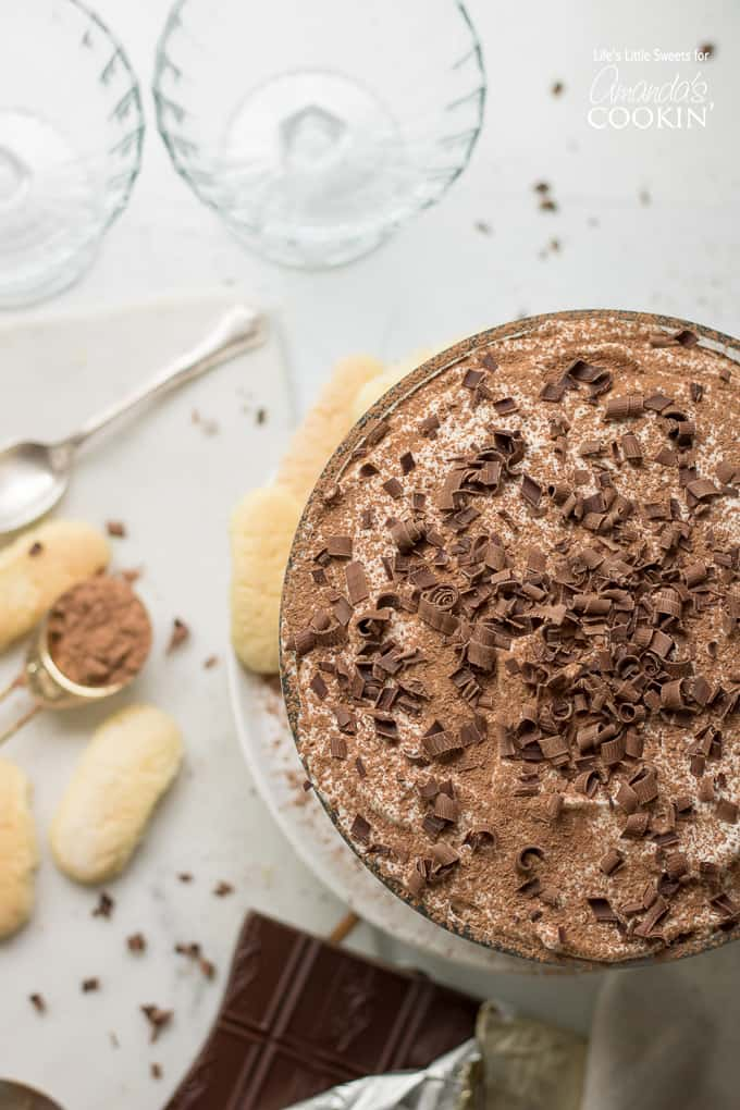 Tiramisu trifle from above