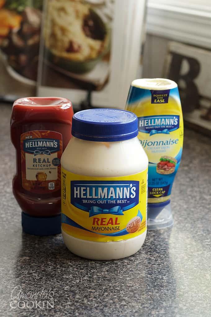 hellmann's mayo, ketchup and dijonnaise