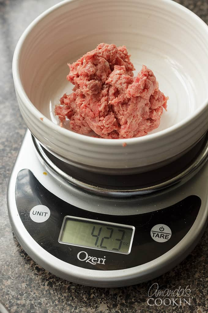 weighing ground beef on kitchen scale