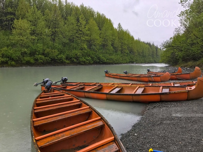 voyager canoes on shore, Skagway, Alaska