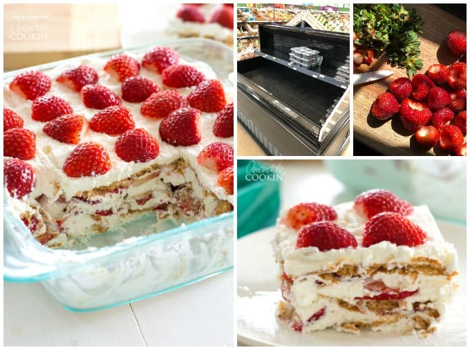 Strawberry icebox cake collage