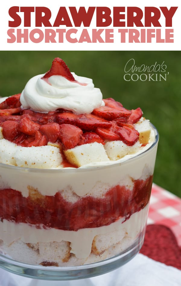 STRAWBERRY SHORTCAKE TRIFLE DESSERT WITH ANGEL FOOD CAKE