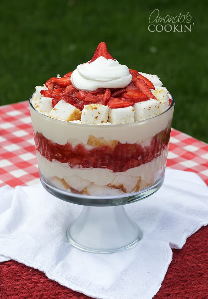 beautiful strawberry shortcake trifle on picnic table