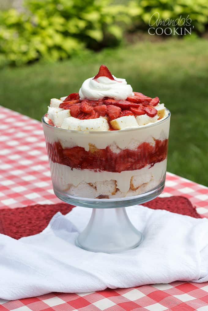 strawberry shortcake using angel food cake made into a trifle