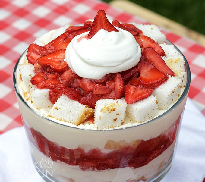 top of strawberry shortcake trifle