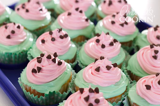 cupcakes sprinkled with chocolate chips