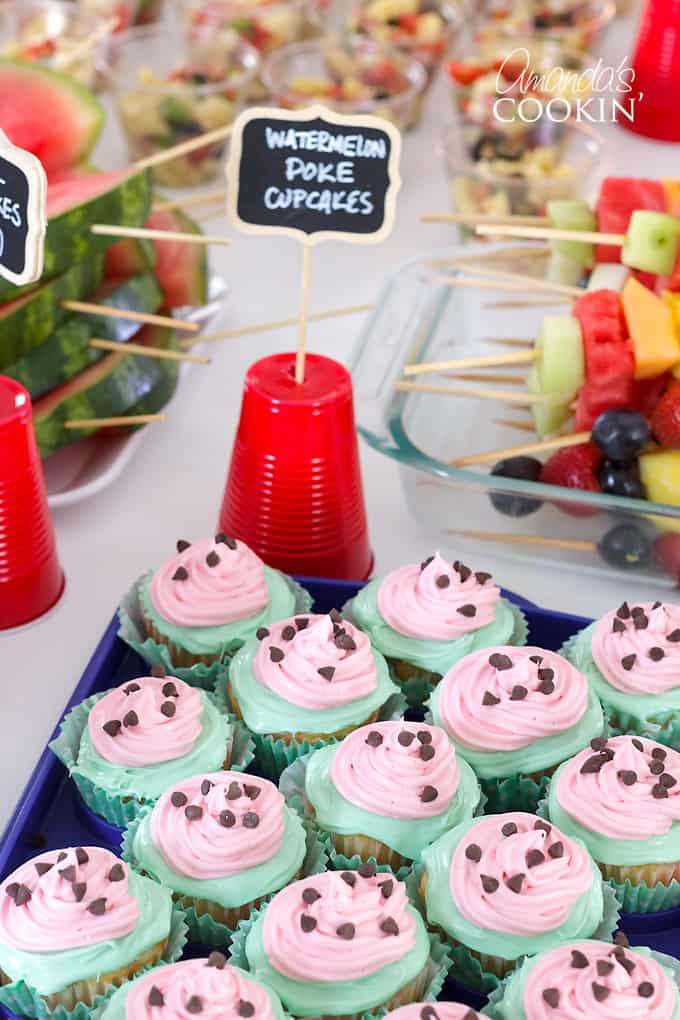 watermelon cupcakes at bridal shower