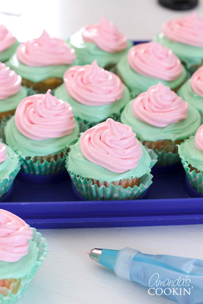 cupcakes with piped frosting