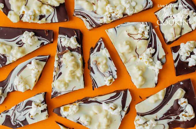 Crunchy popcorn chocolate bark spread out