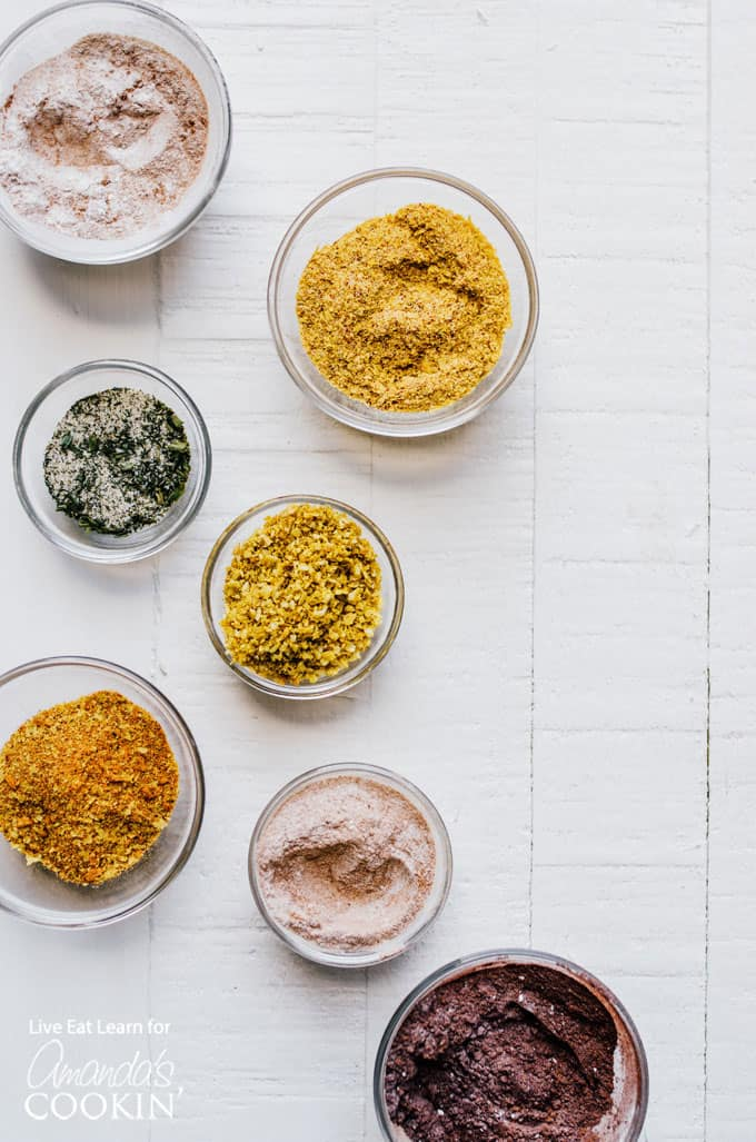 popcorn seasonings in small bowls