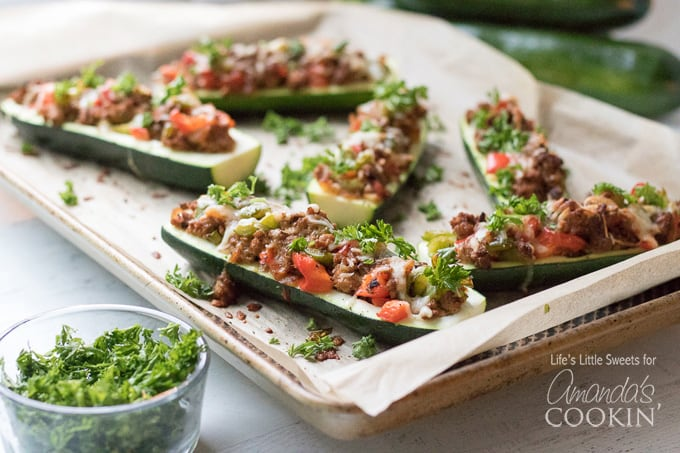 pan of stuffed zucchini boats