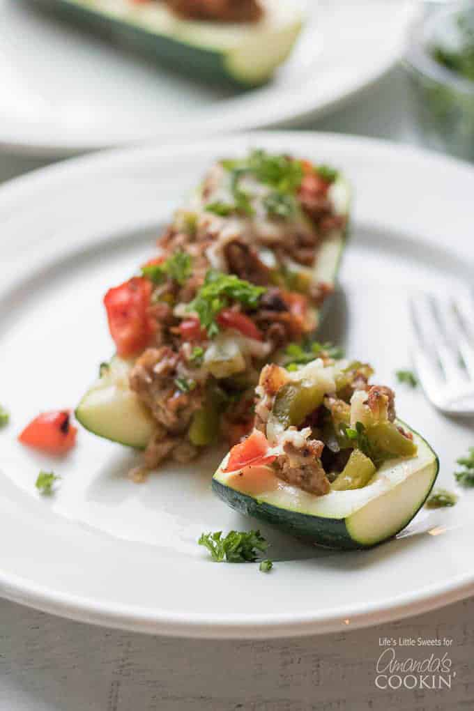 sliced stuffed zucchini