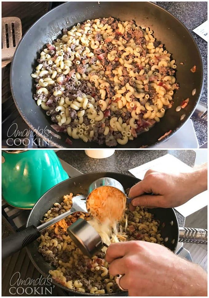 adding cheese to pasta