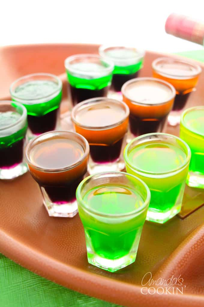 plate of jello shots for tailgating