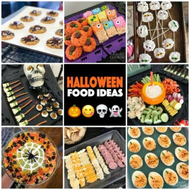 collage of 8 photos showing different halloween party food