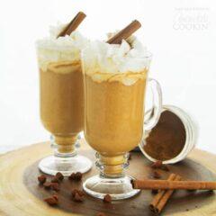 pumpkin hot chocolate in glass mugs
