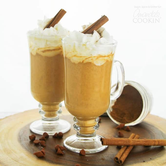 Pumpkin Spice Hot Chocolate with cinnamon stick garnish