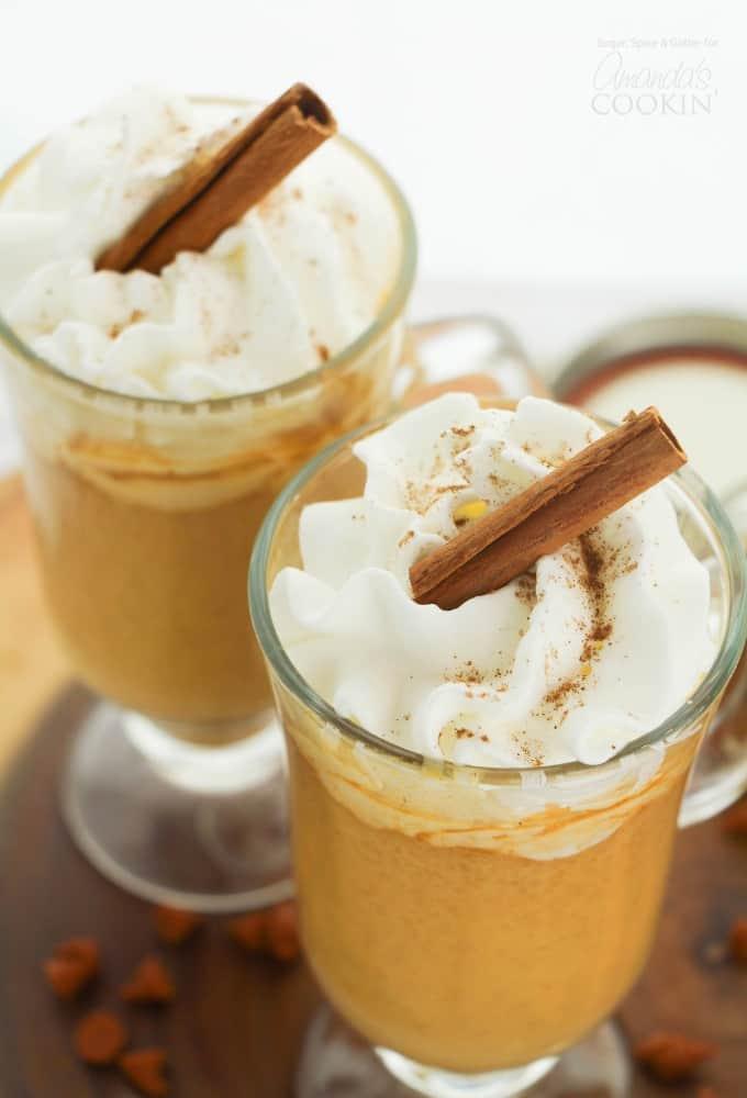Pumpkin Spice Hot Chocolate with cinnamon stick garnish