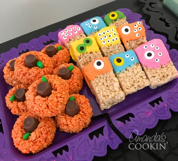 rice krispy treat pumpkins and monsters
