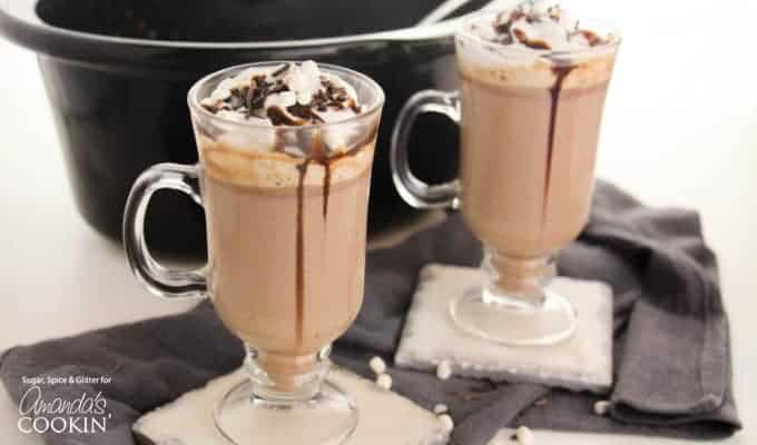 Crockpot Hot Chocolate in mugs