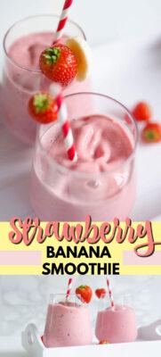 strawberry banana smoothie pin image