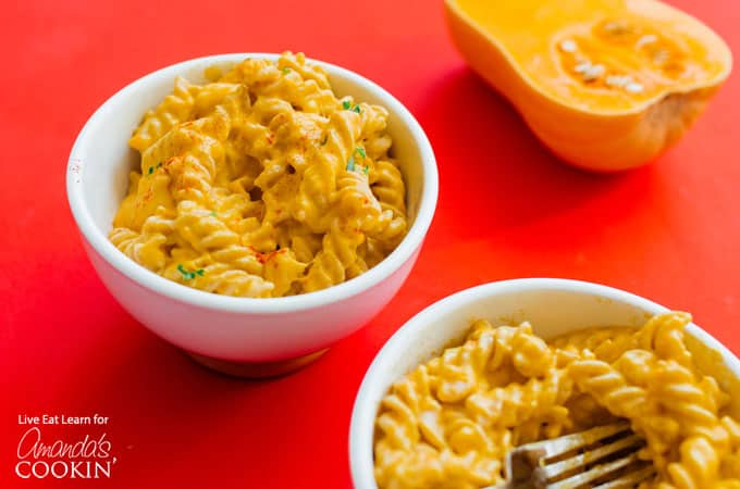 Butternut Squash Mac and Cheese horizontal in bowls