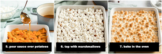 step photos for candied yams with marshmallows