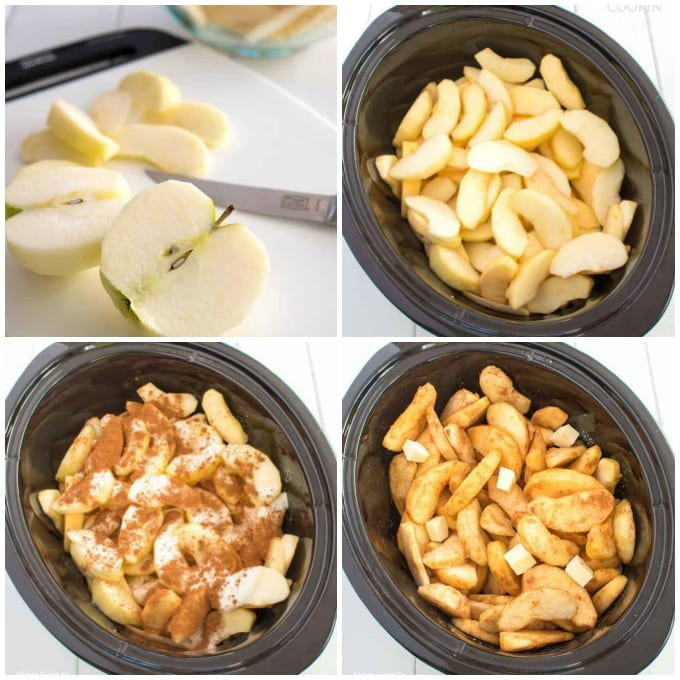 steps showing how to make crockpot cinnamon apples