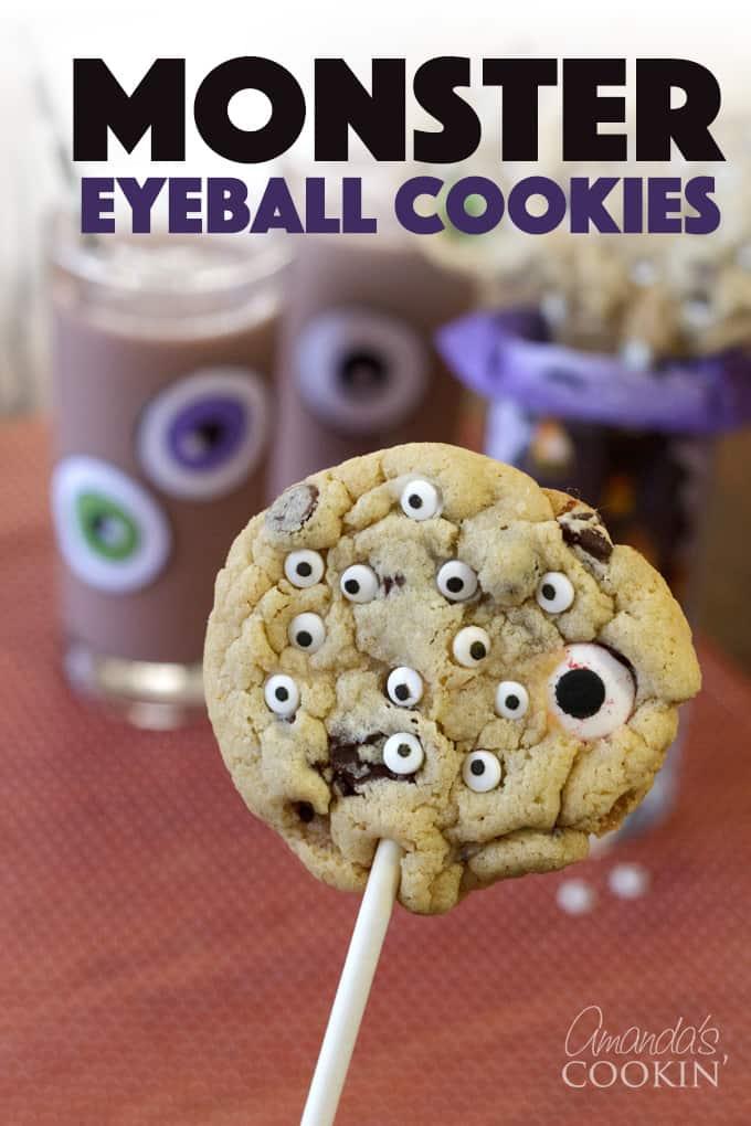 monster eyeball cookie pops