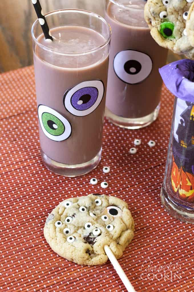 monster eyeball cookie pops and chocolate milk