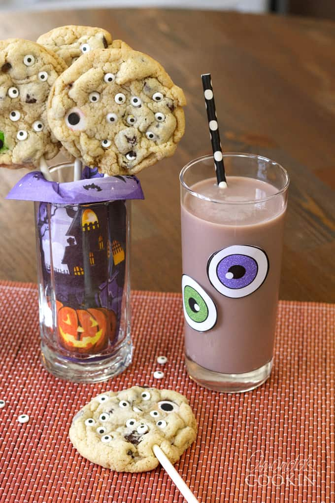 monster cookie pops and milk