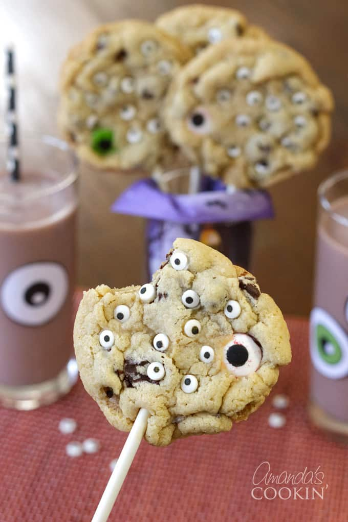 monster eyeball cookie pops with bite taken out