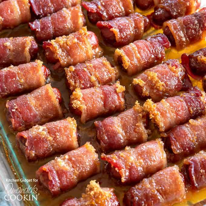 These bacon wrapped little smokies with brown sugar are the perfect game day appetizer, or great served for any type of gathering!