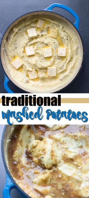 creamy traditional mashed potatoes pin image
