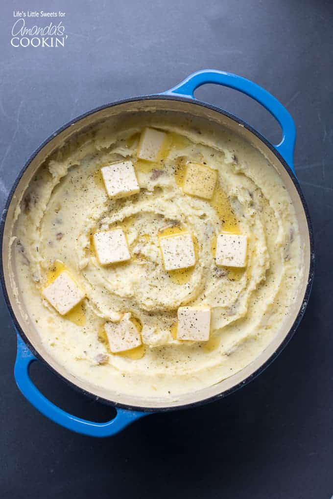 Creamy Traditional Mashed Potatoes dutch oven overhead shot