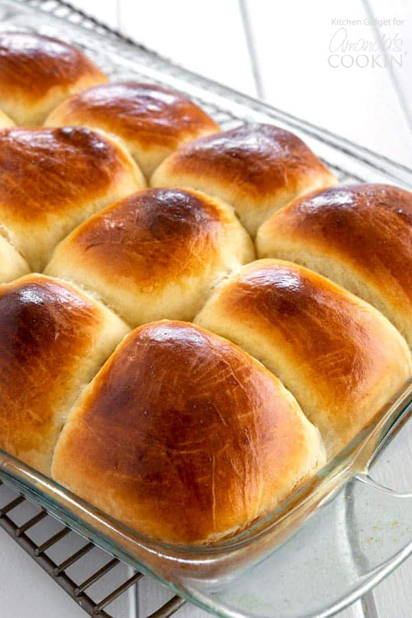 Homemade Hawaiian Rolls in pan