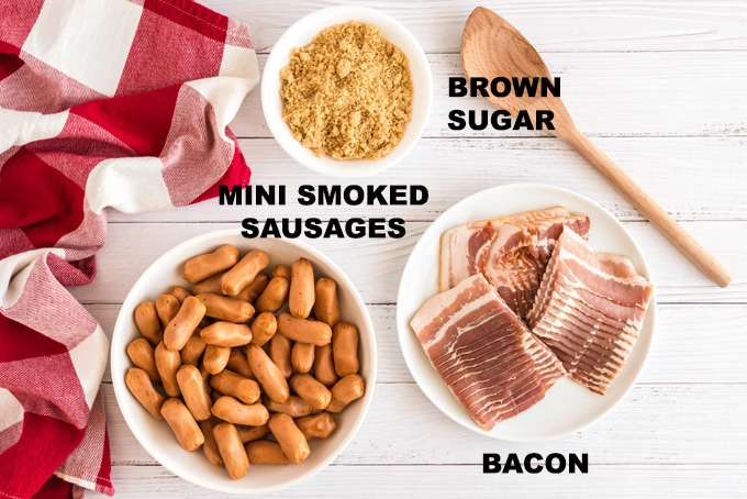 ingredients for bacon wrapped little smokies