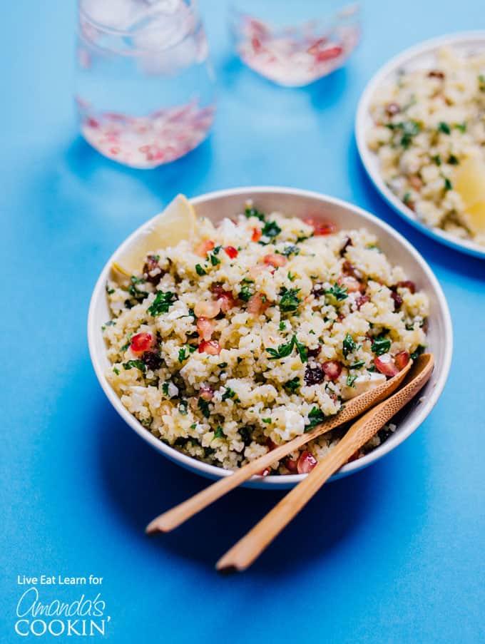 Delicious holiday grain salad in bowl