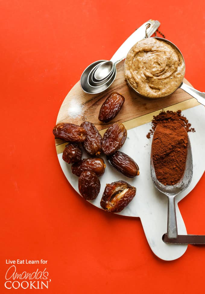 dates and other ingredients on a round board