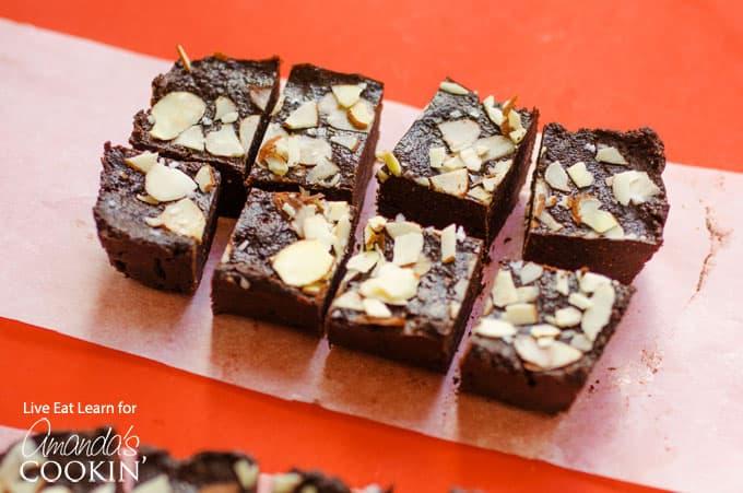 fudge squares on parchment