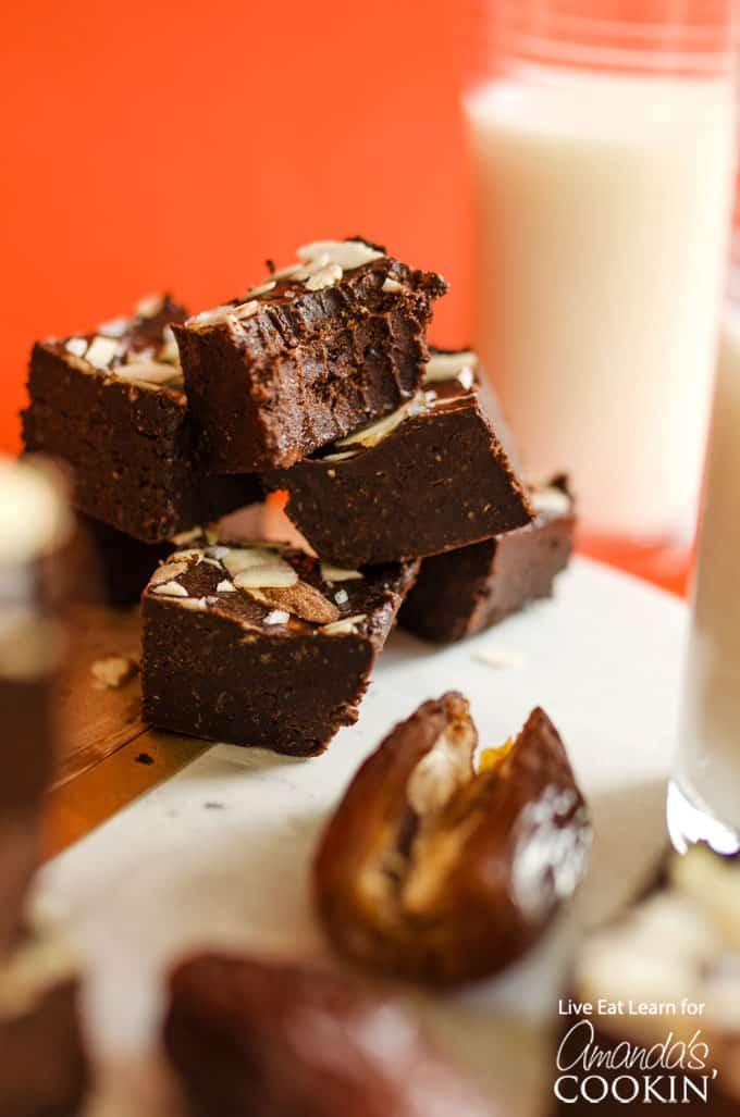 stacked chocolate fudge