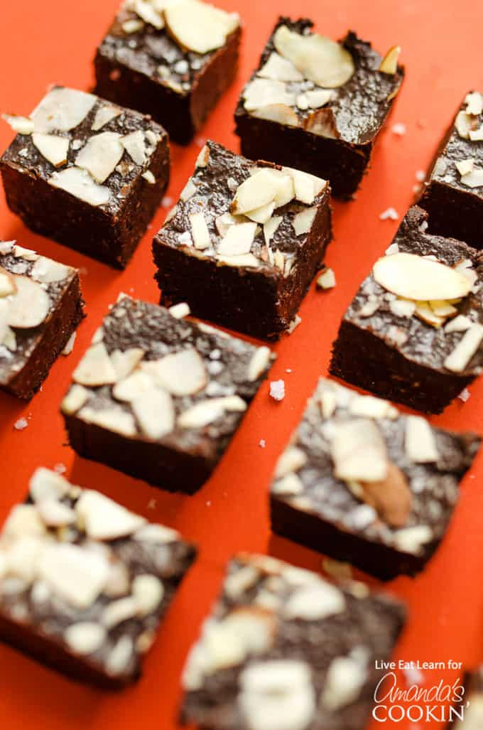 fudge squares on a red background