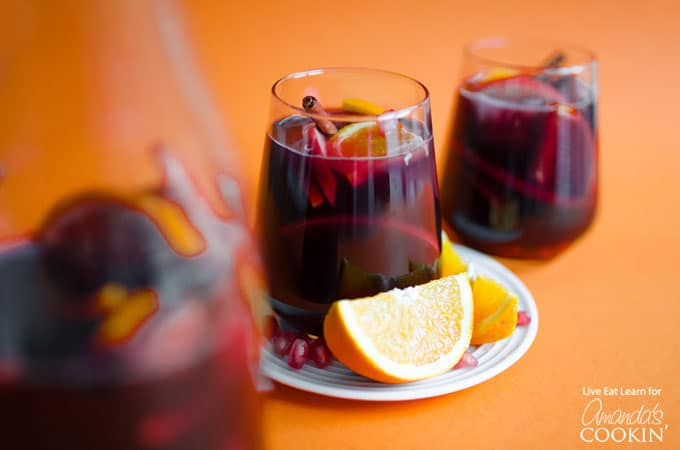 Pomegranate Sangria with orange slice