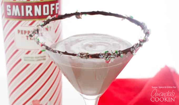Delicious chocolate peppermint martini perfect for holiday get togethers!