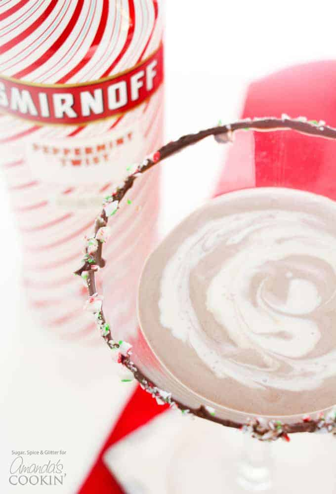 Chocolate peppermint martini with swirls on top