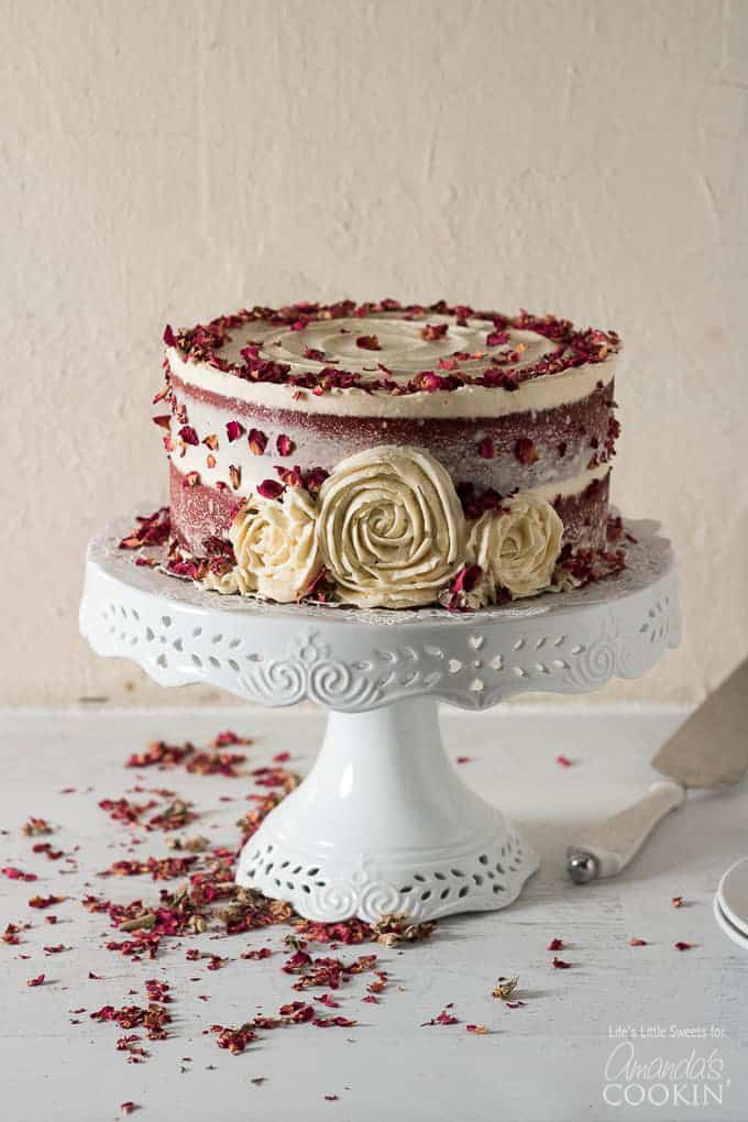 Red Velvet Cake completed on cake stand