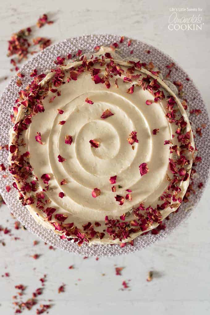 Red velvet cake overhead shot with edible rose petals