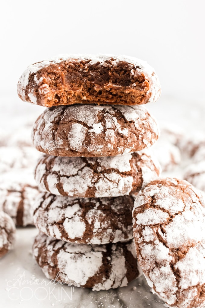 stack of chocolate snow cookies