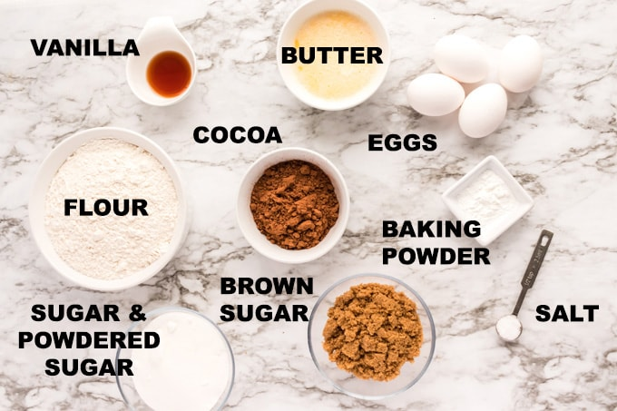 ingredients for chocolate brownie snow cookies